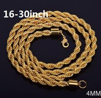 Wholesale twisted rope chain necklace women - 4 mm*16-30 inch Twist chain 18k gold plated necklace fashion personality sautoir Man woman gold couples necklace