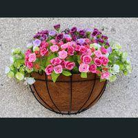 dövme demir dekor toptan satış-Ferforje Hindistan Cevizi Yarım Yuvarlak Saksı Asılı Saksılar Pencere Rattan Dekor Tencere Duvar Demir Bahçe Tesisi Dikim Çiçek Sepeti Sıcak Satış 9hz3 Z