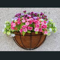 Wholesale Garden Baskets Wall - Wrought Coconut Half Round Flowerpot Hanging Pots Window Rattan Decor Pots Wall Iron Garden Plant Planter Flower Basket Hot Sale 9hz3 Z