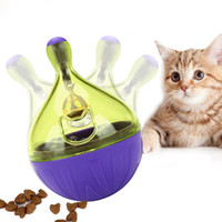 ingrosso puzzle di campana-Animali che colano cibo Giocattoli Tumbler Puzzle di plastica automatico Cat alimentatori palla Cat con piccola campana di alta qualità