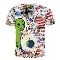 hand-malerei hemden groihandel-Männer T-ShirtsMänner Kurzarm T-Shirt Hip Hop T-Shirts Locker Graffiti Handgemalte Alien 2018 Sommer Unisex Paar T-Shirt