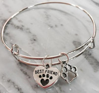 Wholesale best bar accessories for sale - Best Friend Heart Cat Dog Paw Print Charm Expandable Wire Bangle Vintage Silver Cuff Bangles For Women Jewelry Couple Accessories DIY