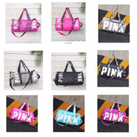 Wholesale Pink Gym Bags - 10 Colors Pink Letter Duffel Bags organizer Large Pink Men Women Travel Bag Waterproof Casual Beach Exercise Luggage Bags YYA965