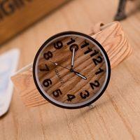 хорошее качество оптовых-Style Wood Grain PU Leather Band Women Men Quartz Dress Wristwatches Wrist Watches reloj mujer kol saati Good-looking