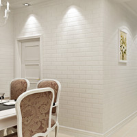 Wholesale Rolling Store - Wholesale-0.53x10 Mete PVC White Brick 3D Wallpaper Roll Vinyl Wall Covering Wall Paper For Living Room Dinning Room Store Background