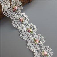 yards kostüm trimmen großhandel-Lösliche Baumwolle Blume Diamant Perle bestickte Stoff Lace Trim Band handgemachte DIY Nähen Handwerk für Kostüm Hut Dekoration 1 Yard