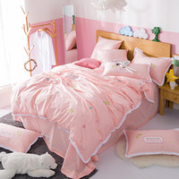 постельное белье оптовых-pink princess bedding set queen size lace edge egyptian cotton bed linen embroidered home textile bed sheet cover kids girls hot