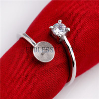 perlenringe zinken großhandel-Eine CZ Stein Zinke Einstellung 925 Sterling Silber Ring DIY Schmuckzubehör Perle Montage für Pearl Party