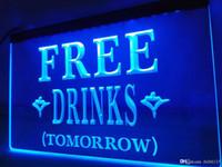 ücretsiz neon bira işareti toptan satış-LB649b-ÜCRETSIZ DRINKS YARıŞ Beer Bar LED Neon Işık Burcu
