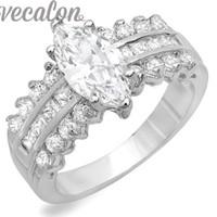 joyeria vecalon al por mayor-X Vecalon Fashion Women Jewelry Engagement anillo de la venda de boda 5ct 5A Zircon cz anillo 925 Sterling Silver Female Finger ring