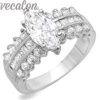 anel prata x venda por atacado-X vecalon moda mulheres jóias de noivado anel de casamento banda 5ct 5a zircão cz anel de prata esterlina 925 anel de dedo feminino