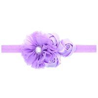 цветочные банты оптовых-Шифоновый цветок перлы 12pcs.rose Head Bands Baby красивый цветок эластичный новорожденных детей ленты для волос аксессуары для волос головные уборы H035