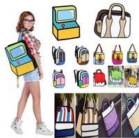 Wholesale new camera 3d online - New styles Cartoon Bag fashion D Jump Style D Drawing Cartoon D Shoulder Messenger Bag camera bag unisex backpack Storage Bags I220