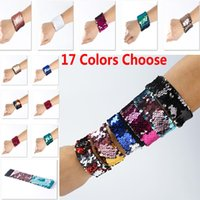 Wholesale Wholesale Costume Charm Bracelets - 17 Colors Charm Bracelets DIY Mermaid Sequin Wristband Glitter Jewelry Bangle Wedding Party Christmas Favors Gifts XL-434