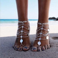 Wholesale heavy metal round resale online - New Punk Heavy metal Anklets women Coins Multilayer tassel beach foot chains Anklet For women Sexy Fashion Jewelry accessories