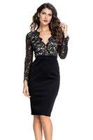 3cd685232c18 Elegante abito da donna autunno party sexy aderente da ufficio wear  primavera vestidos nero pizzo nudo illusion maniche lunghe abito 60797