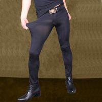 les hommes voient les pantalons achat en gros de-Hommes Sexy Pantalon Transparent Ice Silk Voir À Travers Élastique Pantalon Serré Soyeux Crayon Pantalon Érotique Lingerie Club Gay Wear F90
