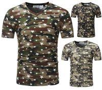 camisa elegante do projeto venda por atacado-Camisas de verão Kanye Elegante Com Decote Em V Camuflagem Projeto de Cinco-estrela de Manga Curta Mens T-shirt Masculino Tee Top Roupas M-3XL