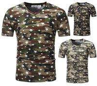 chemise design à la mode achat en gros de-Chemises d'été Kanye À La Mode Col En V Camouflage Cinq Étoiles Conception À Manches Courtes Pour Hommes T-shirt Mâle Tee Top Vêtements M-3XL