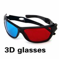 dvd de juegos de video al por mayor-2016 Nuevo Universal 3D Gafas Plásticas Marco Negro Rojo Azul 3D Visoin Glass Para Anaglyph Movie Game DVD Video TV