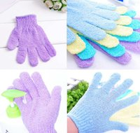 Wholesale Cotton Cleaning Gloves - Shower Gloves Exfoliating Wash Skin Spa Bath Gloves Foam Bath Skid Resistance Body Massage Cleaning Loofah Scrubber DDA162