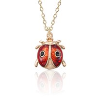 Wholesale ladybird ladybug online - DIY Cute Ladybug Necklace For Women Kawaii Insect Pendant For Girls Ladybird Gold Metal Necklaces Pendants Christmas Xmas Gift