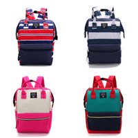 Wholesale Plaid Canvas School Bag - Handle Backpack Mummy Bags 24 Colors New anello Japan Stripe Campus Rucksack Canvas School Bag Unisex Outdoor Travel Backpack