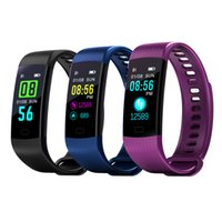 Wholesale waterproof watch camera online - Y5 Smart Wristband Electronics Bracelet Color LCD Watch Activity APP Fitness Tracker Blood Pressure Heart Rate IP67 Waterproof Sports Band