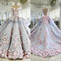 dantel aplikleri toptan satış-Dedi Mhamad 2019 Gelinlik Gelin Elbiseler Balo 3D-Floral Aplikler Vintage Dantel Boncuklu Gelin Elbise robe de mariage