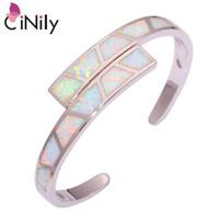 pulseiras de opala para mulheres venda por atacado-CiNily Criado Opal de Fogo Branco Banhado A Prata Atacado Hot Vender Moda para As Mulheres Jóias Presente Pulseira 6 3/4