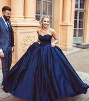 синие платья выпускного вечера 8-го сорта оптовых-2019 темно-синий выпускные платья без бретелек кружева-up открытая спина простой Quinceanera платья выпускного вечера платье 8-го класса сладкий 16 девочек