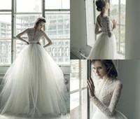 Wholesale ersa atelier wedding dresses - 2018 Ersa Atelier Boho Wedding Dresses A Line Deep V Neck Lace Applique Beaded Beach Wedding Dress Sweep Train Long Sleeve Bridal Gowns