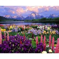 pintura bricolaje números flores al por mayor-Diy Flowers Sea Painting en lienzo con pintura enmarcada o sin marco de Numbers Kits con pigmento acrílico Pinceles para adultos Principiantes