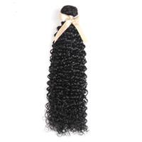 brezilya kıvırcık saç paketleri toptan satış-001 9A Demetleri 8-28 inç Brezilyalı Virgin Remy İnsan Saç Yaki Jerry Curl Renk 1B Siyah