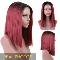 Wholesale bob red ombre wigs for sale - Group buy Middle Part Tones Ombre Burgundy Wine Red Bob Cut Style Straight Synthetic Hair Lace Front Wig Inch Natural Ombre Cosplay Wigs