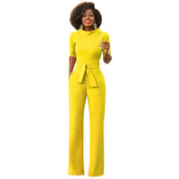 61d79be4ee8 MONNORQ 2018 Stylish Summer Jumpsuits Classic Style Half Sleeve Stand  Collar Sashes Office Lady OL Jumpsuits Plus Size XXL