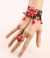 pulsera de encaje de diamantes al por mayor-Caliente nuevo estilo retro étnico accesorios de tocador de las mujeres diamante rojo delicado encaje pulsera moda clásica delicada elegancia