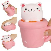Wholesale Pussy Cupping - ePacket Squishy 14CM Jumbo Kawaii Cup Cat Pussy Squeeze Cute Animal Slow Rising Scented Bread Cake Phone Straps Kid Toy Gift Doll