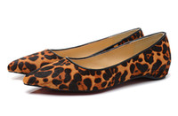 Wholesale Leopard Print Ballet Flats - Women's Shoes Leopard Print Leather Genuine Horsehair Slip On Pointed Toe Women Flats,Ladies Luxury Brand Red Bottom Ballet Flats Size 34-41