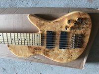 Wholesale electric bass pickups for sale - Rare Ash Body Fodera Butterfly Strings Natural Spalted Burl Maple Top Electric Bass Guitar One Piece Neck Through Body Active Pickups