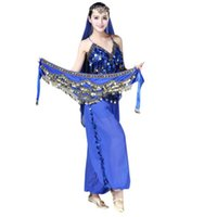 Wholesale red belly dancing scarves resale online - Fashion Bellydance Costume Women Shinny Skirt Scarf Wrap Belt With Golden Sequin colors Dancing Accessories V07