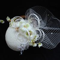 ingrosso cappelli unici del partito-Unico fiore fatto a mano in tulle cappelli da sposa partito di sera di nozze copricapo sposa ornamenti capelli signore accessori per capelli partito nobile