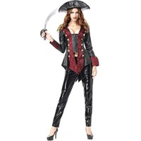 Wholesale sexy leather women costumes resale online - New Pirate Costumes Piece Sexy Leather Women Suit Cosplay Halloween Costume Party Fancy Ball Clothing By DHL Hot Selling
