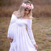 Wholesale long gowns for women - Pregnant Dress elegant Maternity Gown Cotton V collar Split Front Photography Dress for Photo Shoot Women Pregnancy Long Dress WND04