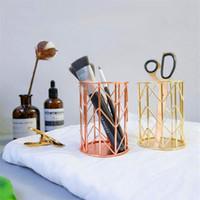 lápices de plumas de encaje al por mayor-Nordic ins metal hierro lápiz pluma encaje ceja sarga lápiz maquillaje decoración apoyos foto oro rosa