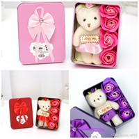 Wholesale valentine bouquets - Rectangle Artificial Rose Soap Flower With Cartoon Plush Bear Bouquet Home Decoration Soaps Flowers For Wedding Valentines Day Gift 5 5sm BB