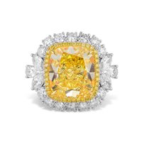 Wholesale White Gold Cushion Diamond Ring - 11.45Ct Fancy Intense Yellow Diamond Ring Cushion Cut Natural 18K White Gold GIA