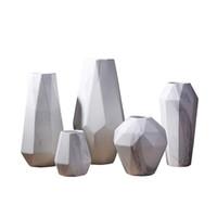 seramik vazolar toptan satış-Ana Salon Restaurant için İskandinav Mermer Seramik Vazo Geometrik Modern Tasarım Seramik Çiçek Vazo Dekorasyon Craft