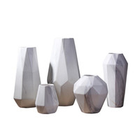 Wholesale tabletop flower vase resale online - Scandinavian Marble Ceramic Vase Geometric Modern Design Ceramic Flower Vase Decoration Craft for Home Living Room Restaurant