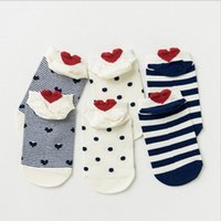 Wholesale Ankle High Hosiery - 3Pair High Quality Casual Funny Socks Short Ankle Heart Design Heel Socks Floor Meias Spring Sox Hosiery Female Wholesale